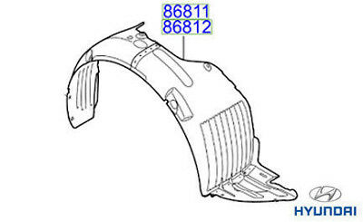 Genuine Hyundai i30 Front Wheel Arch Liner RH Drivers - 86812A6001