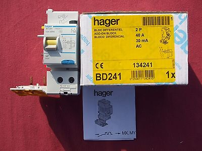 Réf BD241 BLOC DIFFERENTIEL HAGER 2P 40A 30mA type AC 230;400V NEUF