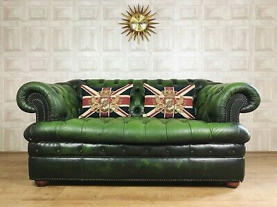 VINTAGE FULLY BUTTONED Green Leather Chesterfield Sofa - 2 Seater *£65  DELIVERY*