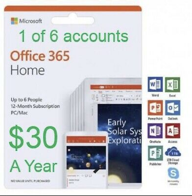 Microsoft Office 365 Home Premium Retail English 1YR Subscription 1/6 Owner