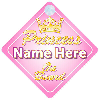 Non Personalised Child//Baby On Board Car Sign~ Unicorn Princess on Board Pink
