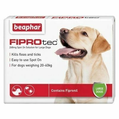 Beaphar FIPROtec Large Dog Spot On Flea Tick Solution Vet Strength + Fipronil