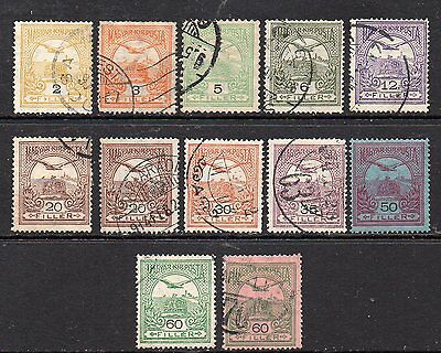 Hungary:12-Very Nice Used Turul & Crown Issues with Various Perfs and Wmks
