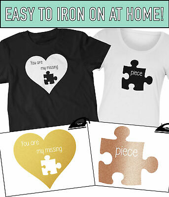 You Are My Missing Piece Couples Gift Valentines Iron On T-Shirt Transfer Vinyl