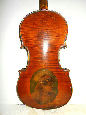 "Old Antique Vintage ""Stradiuarius"" 2 Pc. Back Full Size Violin - NR"