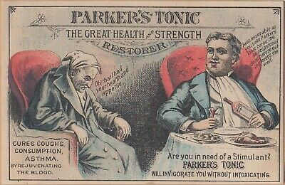 Victorian Trade Card-Parker's Tonic-Hair Balsam-Patent Medicines-Benefits of Use