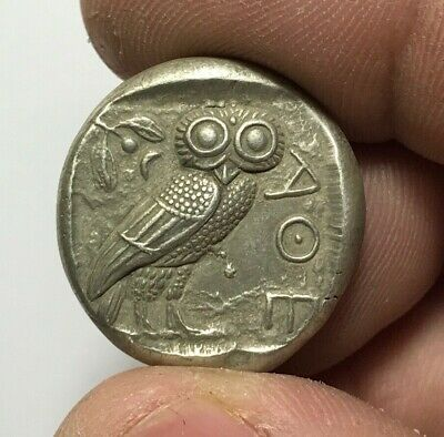 ANCIENT GREEK SILVER COIN TETRADRACHM ATHENS / OWL  FOURRE 16.7gr 26.0mm