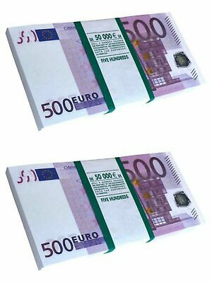 SET of 2 pack €500 Euro Souvenir Banknotes for Prank & Videos, Gift (80-90 pcs )