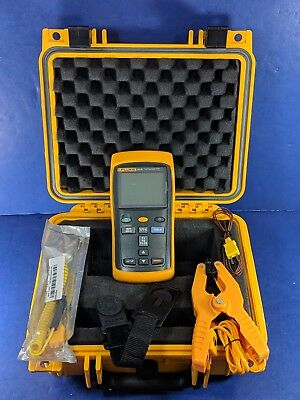 Fluke 52 II Thermocouple Thermometer, Excellent, Screen Protector, Case, Clamp