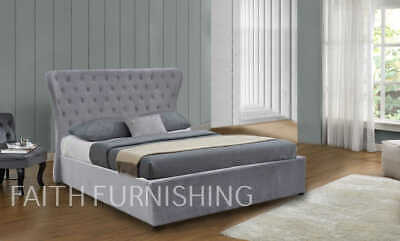 5af7a61ad2b0 Cleo Butterfly Light Grey Plush Velvet Ottoman Storage Bed - Double or King  Size