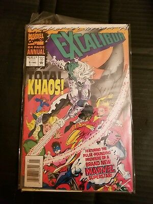 Lot of 4 Marvel Comics Excalibur--- Includes New Character Trading Card in #1!