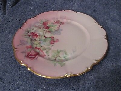 """Imperial China Germany Vintage Cabinet Plate Pink w Flowers Artist Signed 10"""""""