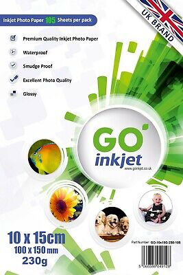 100 Sheets 10x15 cm Glossy Photo Paper 230gsm for Inkjet Printers by Go Inkjet