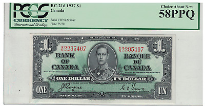 1937 Bank of Canada $1.00 Coyne / Towers W/N PCGS 58