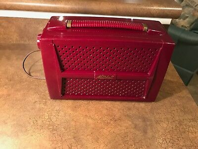 Restored 1950s Mitchell 1276 AM Picnic AC/Battery Portable Tube Radio maroon