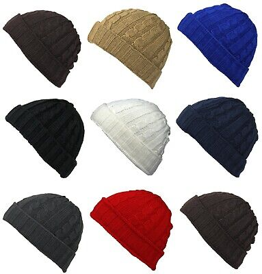 60ba61794e295d Mens Boys Ladies Knitted Woolly Winter Warm Fisherman Cable Knit Beanie Ski  Hat