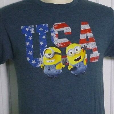 Men's Minions Despicable Me Minion Made Heather Blue USA T-shirt, Size S
