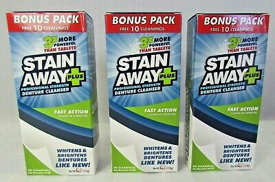 Stain Away Professional Strength Denture Cleanser 9.1 oz. Each (3 pack)