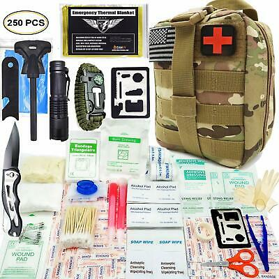 250PCS First Aid Medical Survival Kit Supplies Military Molle EMT Tactical Bag