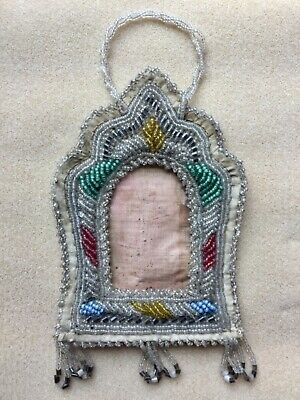 Antique Native American Hand Beaded Picture Frame made with seed beads