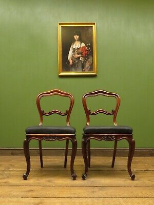 Pair of Antique Chairs with Black Button Seats, J. Manuel Sheffield