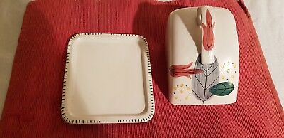 Ceramic,E  RADFORD Old English  Butter Dish- Hand painted