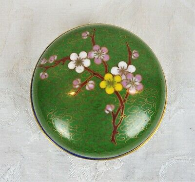 Small Antique Round Trinket Box Floral Cloisonne Enameled Brass Chinese