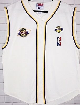 Los Angeles Lakers Vtg Jersey Reebok Size Large Yellow Purple Embroidered 7474e05ec