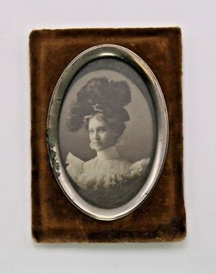 Velvet Frame Vtg Antique Photo Millinery Lg Hat Victorian Fashion Portrait Woman