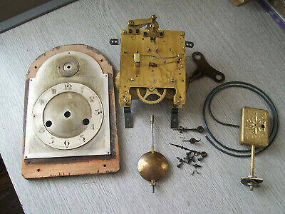 Antique / Vintage Gustav Becker clock movement / pendulum /gong / hands / key