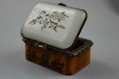 Collectable Hand Decor Agate Carve Beauty Plum Blossom Plum Usable Jewelry Box