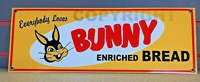 BUNNY Enriched Bread Vintage Reproduction Aluminum 16.75 x 6 Sign