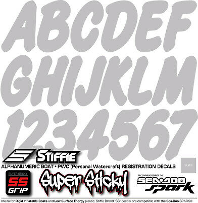 Stiffie Whip-One Blue 3 Alpha-Numeric Registration Identification Numbers Stickers Decals for Boats /& Personal Watercraft