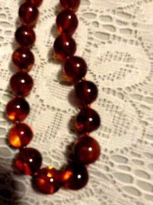 "ANTIQUE HEALING GENUINE USSR RUSSIAN AMBER CHOKER Necklace,17.5"" (44.5cm),Estate"