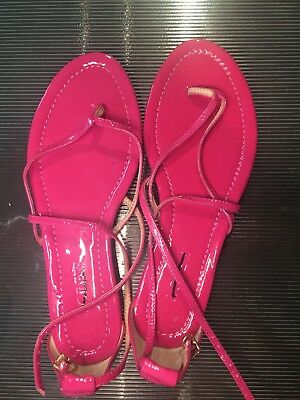 fb1fec73e8ead J.Crew Women s Audra Sandals 6 1 2 Strappy Patent Leather Flat Bright Pink