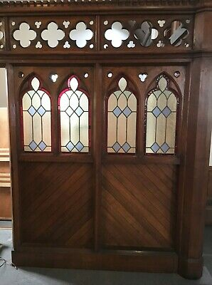Fantatstic Gothic Quartersawn Oak Arched Double Doors Stained Glass1904