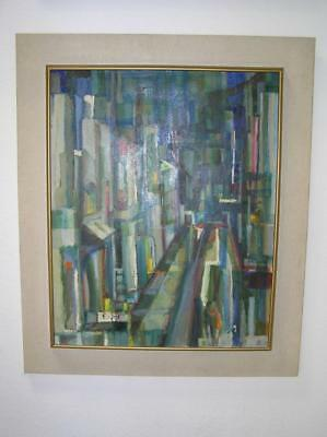 "Wasserman Abstract Oil Painting ""The City Street"" Mid Century Modern Surrealist"