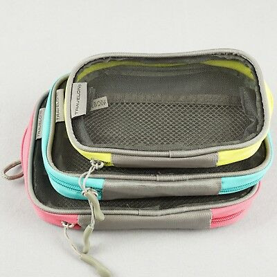 Set of 3 Travelon Packing Squares Travel Zippered Organizers - Pink/Teal/Green