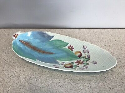 Clarice Cliff Leaf Shaped Pottery Platter Dish/Plate w/ Leaf & Berry Decor c1937