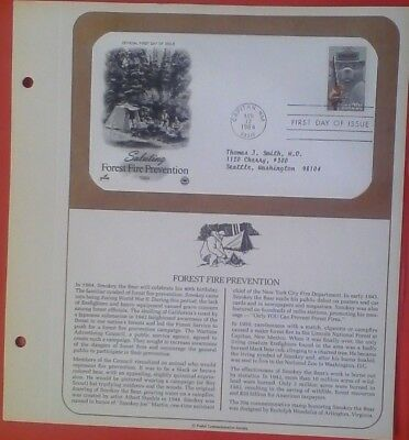 US Postal Commemorative FIrst day issue, 1984 Forest Fire Prevention, # 2096
