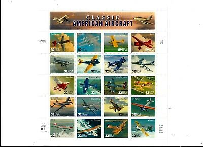"""US SHEET(19) OF MNH, STAMPS, SCOTT #s3142, """"AMERICAN AIRCRAFT """", $.32,"""
