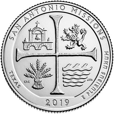 2019 S Clad Proof San Antonio Mission San Antonio Texas National Park NP Quarter