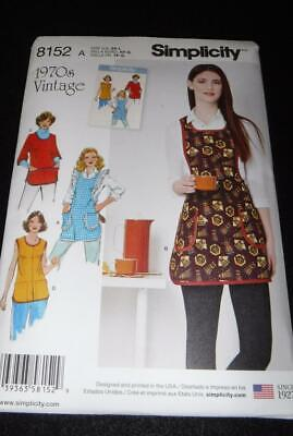 Simplicity 8152 Pattern  4 Aprons 1970's Vintage  Sizes 6-20