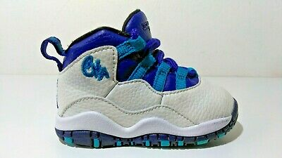 the best attitude 8cc82 b7f26 Air Jordan 10 Retro Baby Boys Bt   Toddler Charlotte   White - Blue Shoes Sz