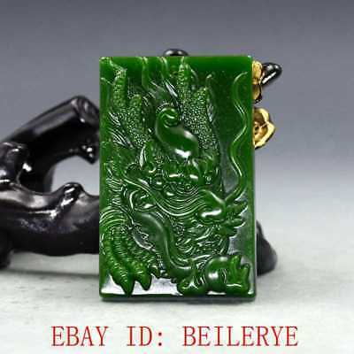 Chinese Natural Green Hetian Jasper Jade Hand Carved Dragon Pendant 10