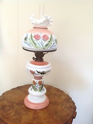 Antique Bismark Style Hand Painted Kero / Oil  Lamp