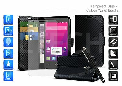 For Huawei P Smart (2019) POT-LX1 - Carbon Fibre Magnetic Phone Case, Glass &Pen