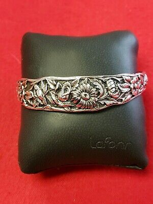 Vintage Kirk & Son Sterling Silver Repousse Flower Cuff Bracelet No 8