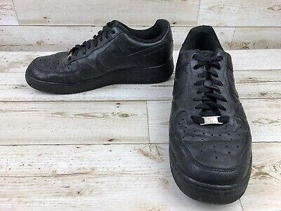new style 3087d 1ae8a Nike Air Force 1 Black Leather Shoes Men s Size 11 Athletic Sneakers 315122 -001