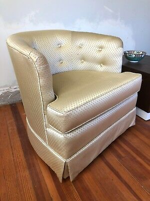 1960s Mid Century Modern Tufted Barrel Back Swivel Chairs   A Pair